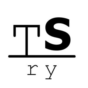 """Taiteen Sulattamon logo, jossa on """"TS"""" yläpuolella ja keskellä viiva, jonka alapuolella on """"ry"""""""
