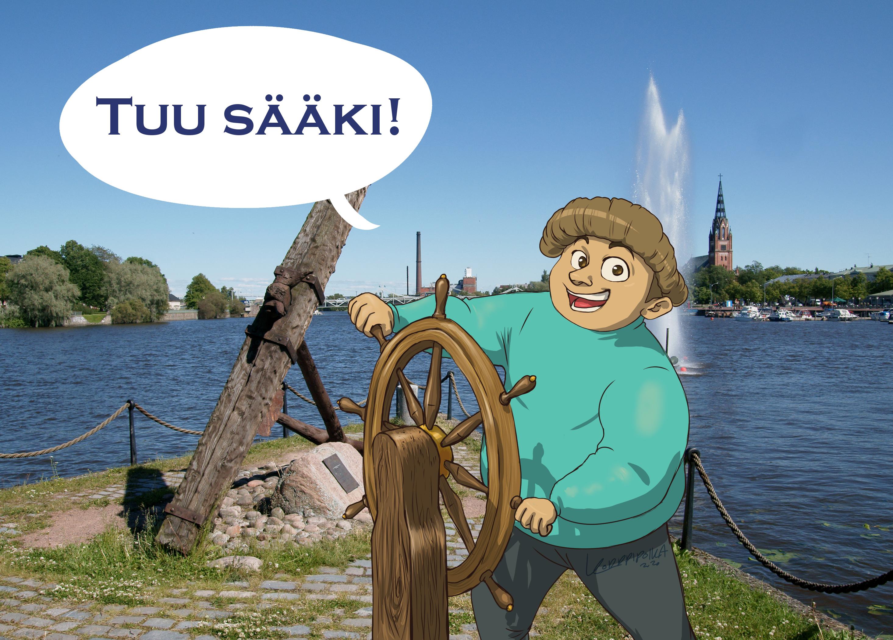 """Taiteen Sulattamon maskotti Kajutsu ohjaa ruoria veden äärellä ja hänellä on puhekupla """"Tuu sääki!"""""""