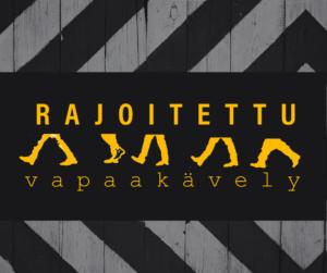 Rajoitettu vapaakävely -logo oranssilla