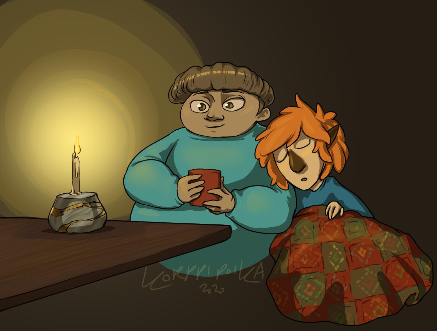 Taiteen Sulattamon maskotit rentoutuvat pöydän äärellä hartaassa tunnelmassa kynttilän valossa