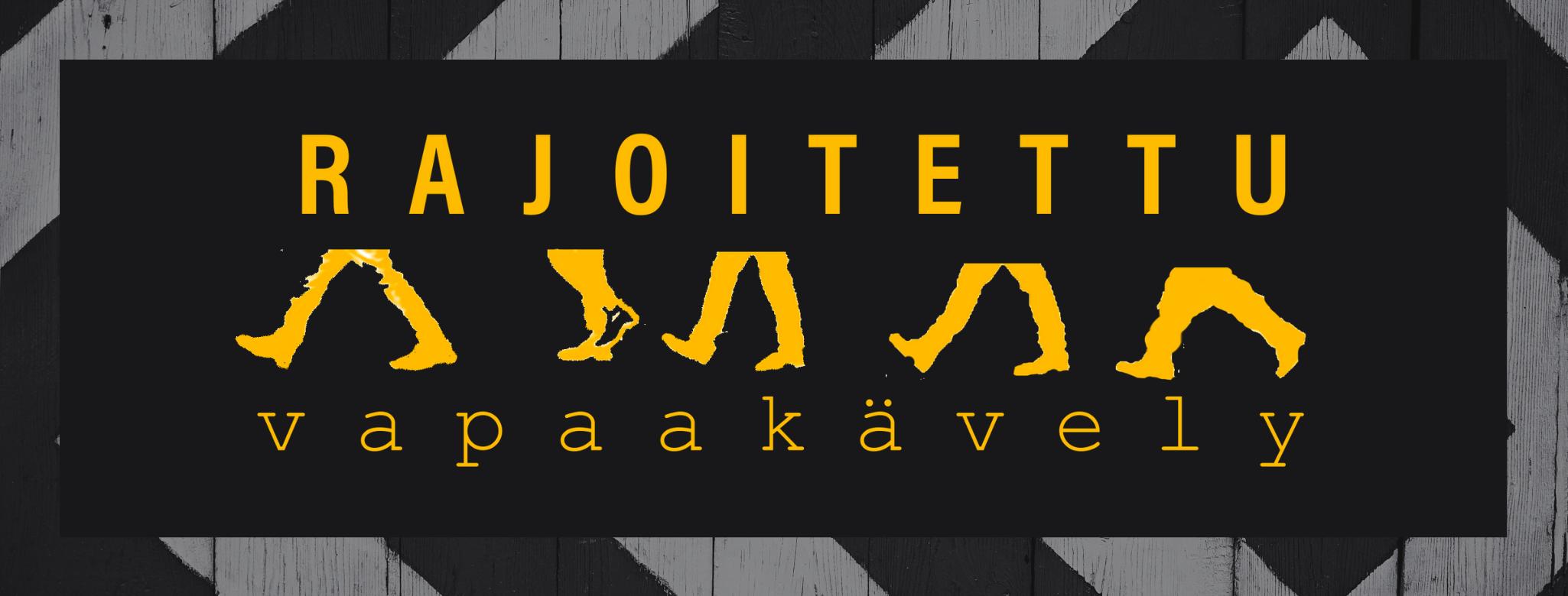 """Rajoitettu vapaa kävely esityksen juliste missä jalat kävelee vasemmalle. Jalat on piirretty minimalistisen keltaisesti ja ylhäällä on teksti """"rajoitettu"""" ja alhaalla teksti """"vapaa kävely"""""""