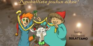 Taiteen Sulattamon maskotit juhlivat joulua.
